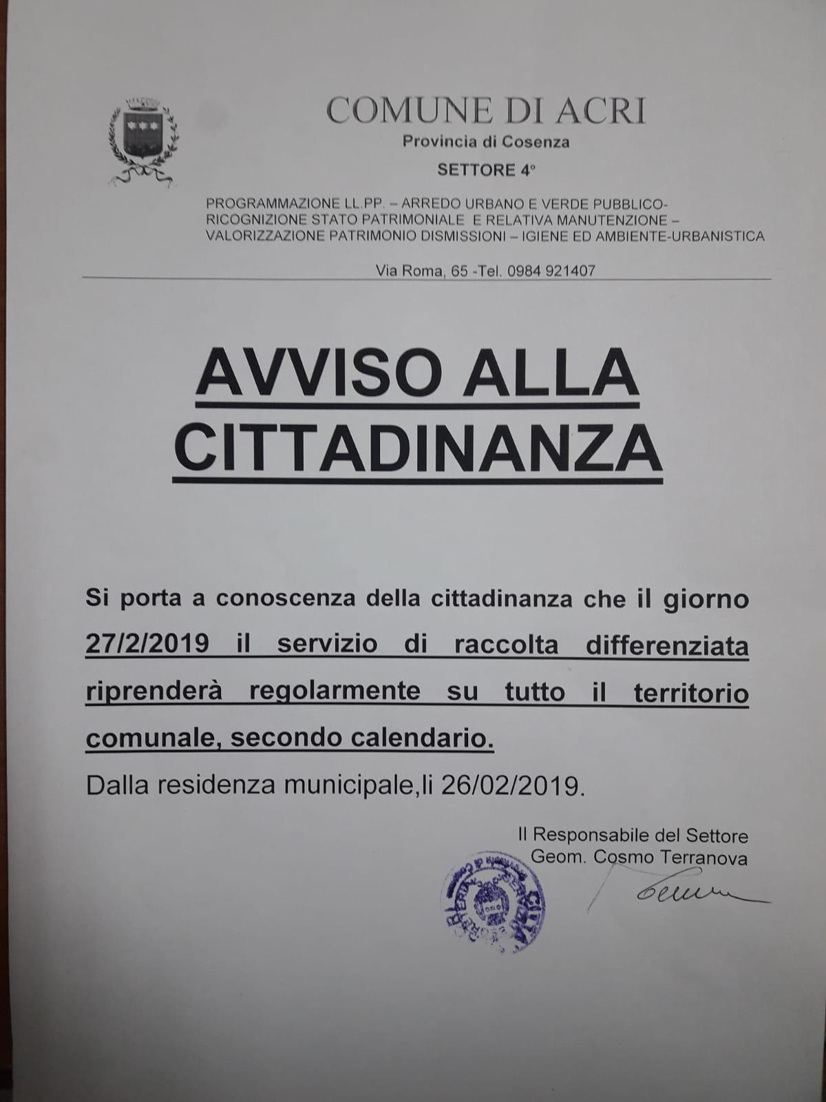 Raccolta Differenziata Cosenza Calendario 2019.Da Domani Riprende La Raccolta Differenziata Acrinews It