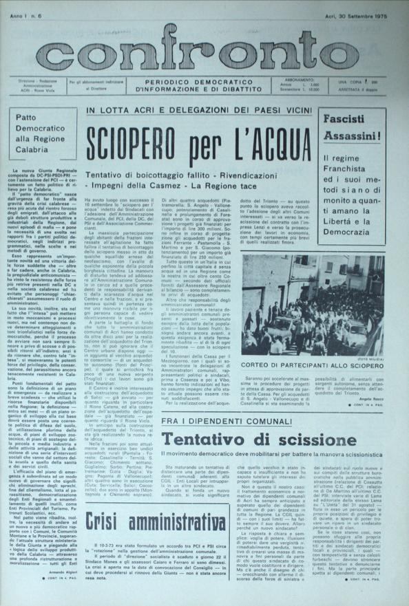 Confronto n°6 del 30 settembre 1975