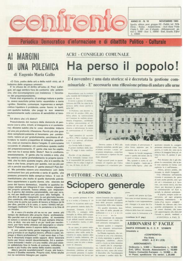 Confronto n°10 del 1983