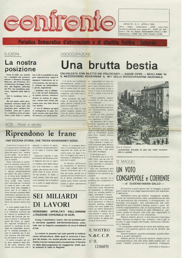 Confronto n°4 del 1985