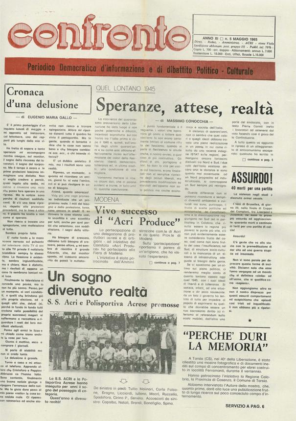 Confronto n°5 del 1985