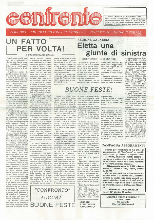 Confronto n°10 del 1986