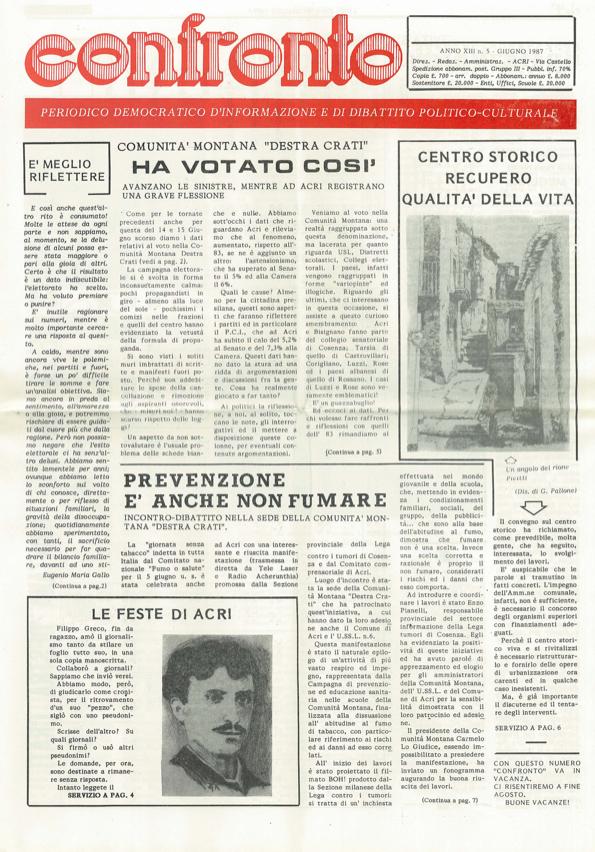 confronto n°5 del 1987