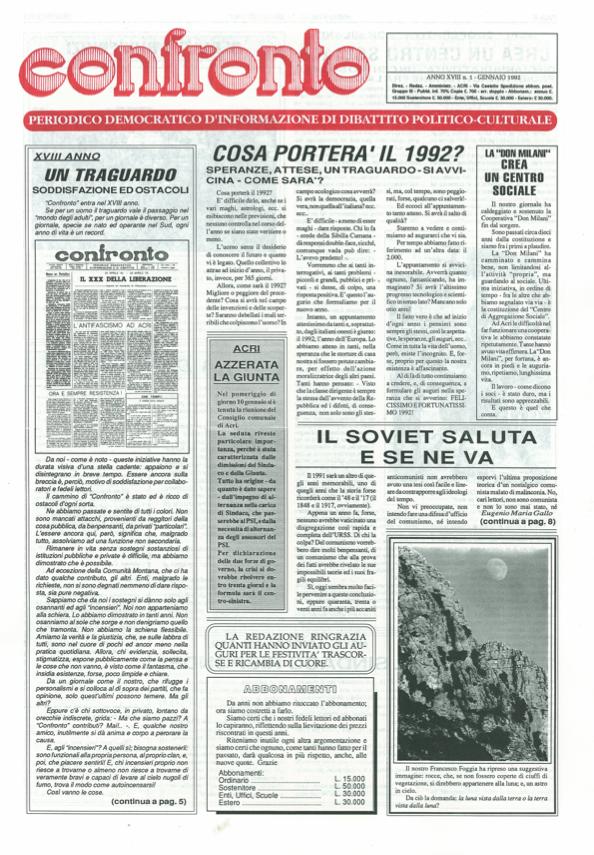 Confronto n°1 del 1992