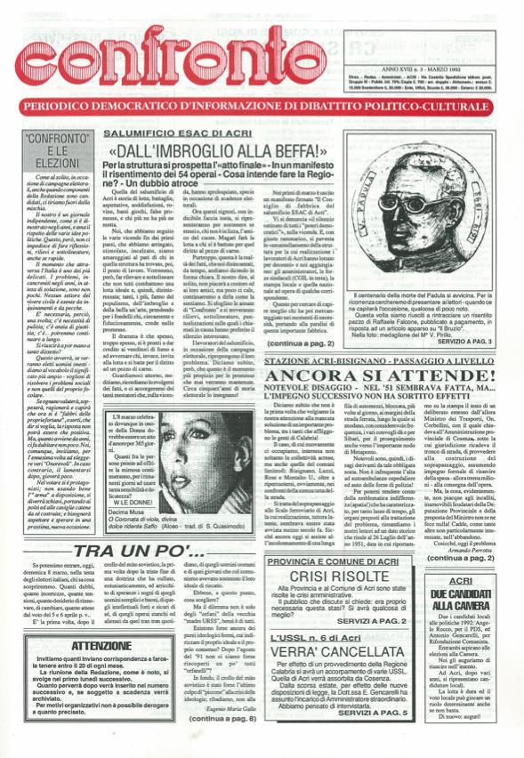 Confronto n°3 del 1992