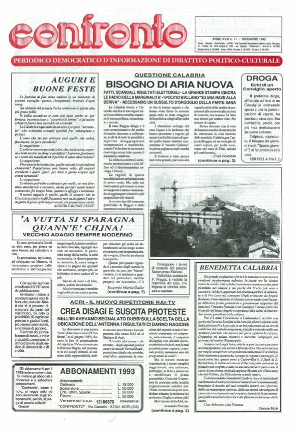 Confronto n°11 del 1992